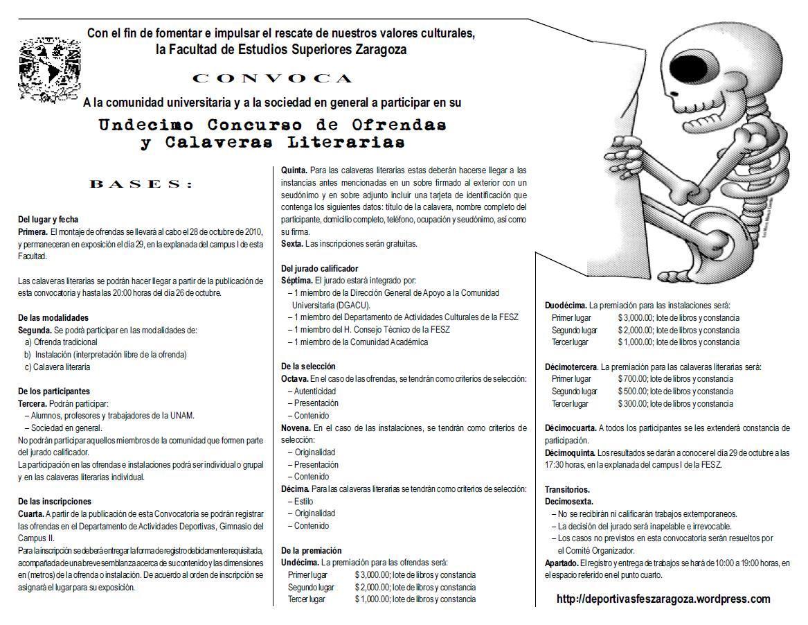 Concurso de ofrendas y calaveras literarias 2010 for Concurso para maestros